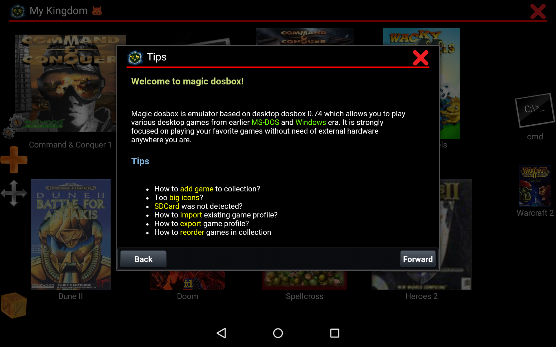Help inside magic dosbox app -